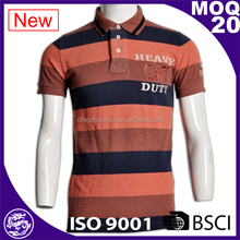 factory manufacture customized men striped design polo shirts