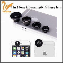 Magnetic 4in1 Fish Eye Wide Angle Micro Telephoto Lens Camera Kit for All Phones