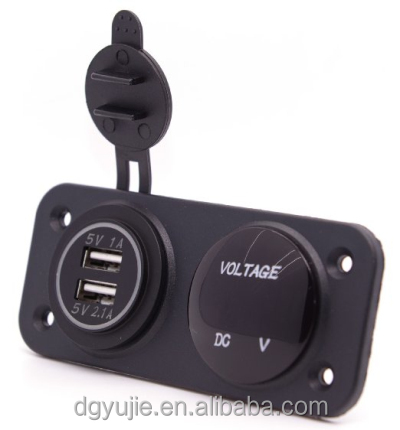 2.1A/1A USB Charger with the Panel For Car Boat Marine Motorcycle