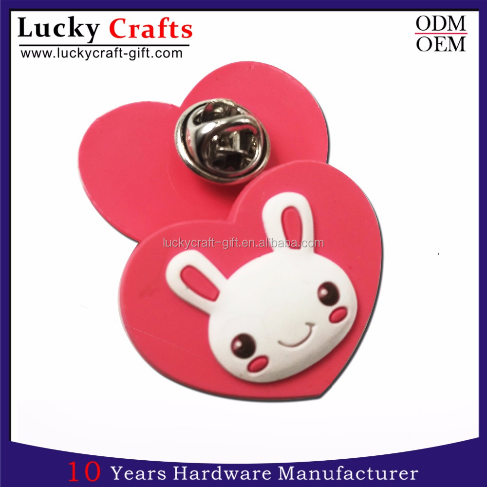wholesale 3D Kids plastic custom Soft rubber pvc badge with your own design