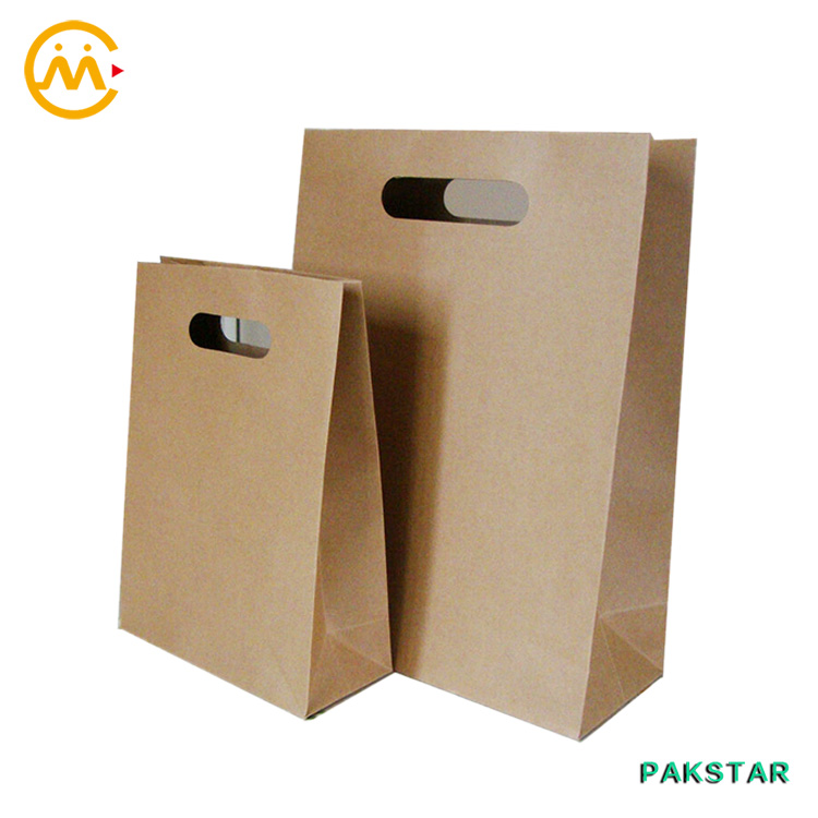Xiamen Food Grade plain brown kraft bag with die cut handle