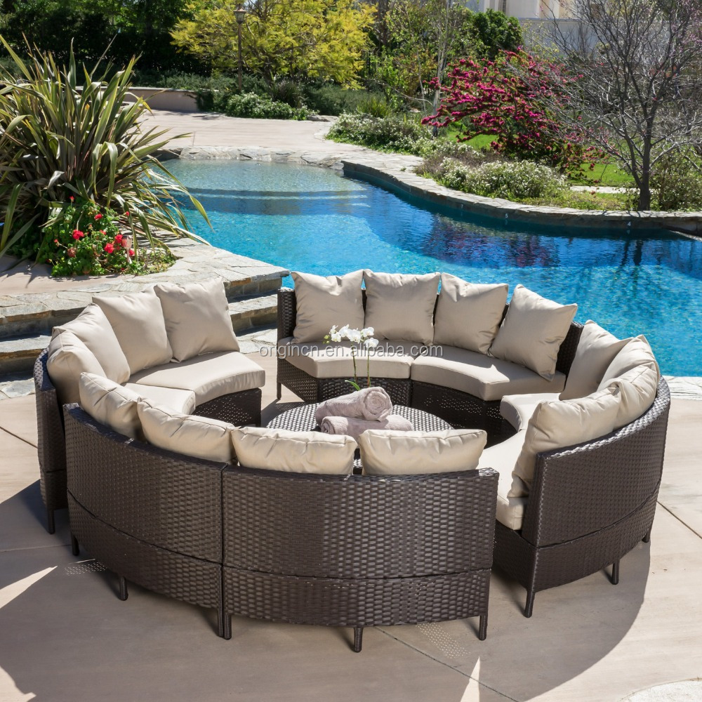 8 Seaters Circled Patio Furniture With Cocktail Table
