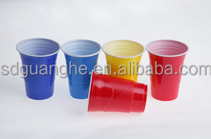 Hot selling 16oz promotion disposable change colored cups PS