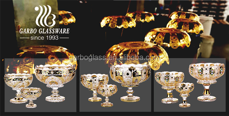 Good quality 7pcs gold plating fruit bowl with stand
