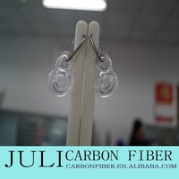 high quality fiberglass curtain rod with hook and end cap, white curtain rod finials