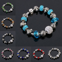 Wholesale Silver Color Bangle Bracelets European Glass Beads Bracelet With Crystal Balls