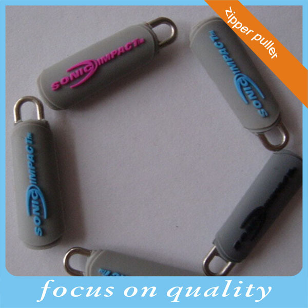 micro injection zipper puller charm high quality 3d customized flex rubber pvc zipper slider charm pull tabs