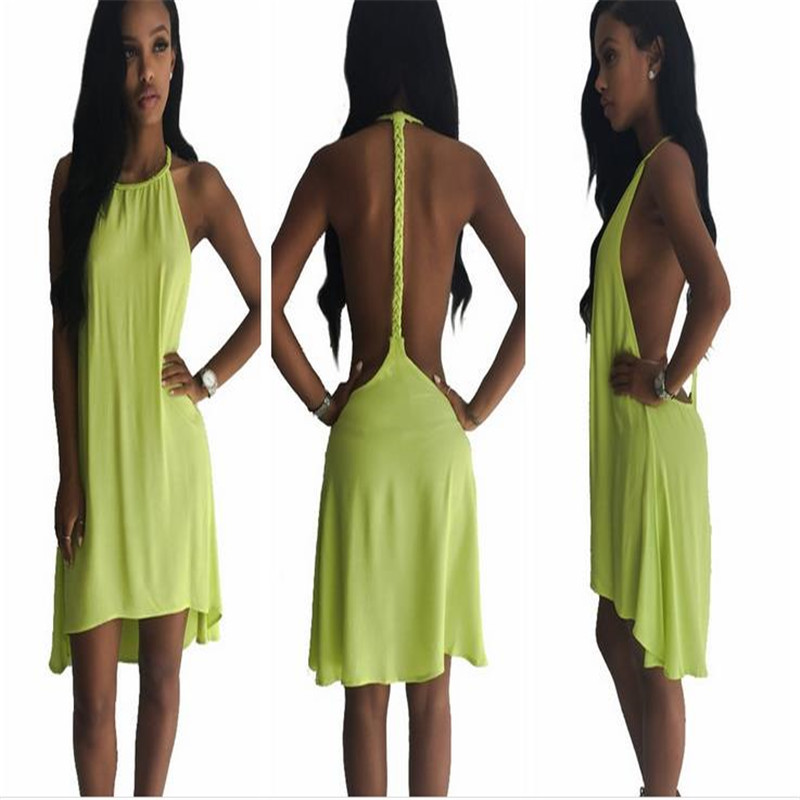 New Design Halter Style Backless Ribbon Strap Sexy Night Club Wear Brand 2015 Women Summer Dress Bright Yellow Party Mini Dress
