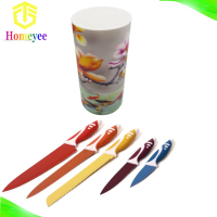 New born for good selling color knifes set with 3D photo knife stand