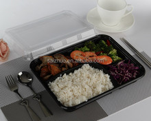 black base BPA free disposable plastic 5 compartment lunch box