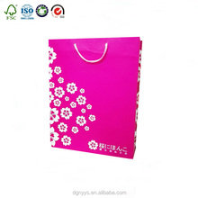 Customized fashion pink Art Paper Packing Paper Bags For Shopping and Gifts made in China