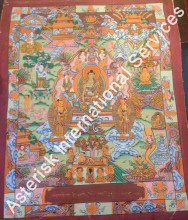 Handpainted Tibetan Thangka Life of Buddha