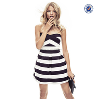High-end Fit And Flare Black And White Striped Mini Dress For Ladies Manufacture