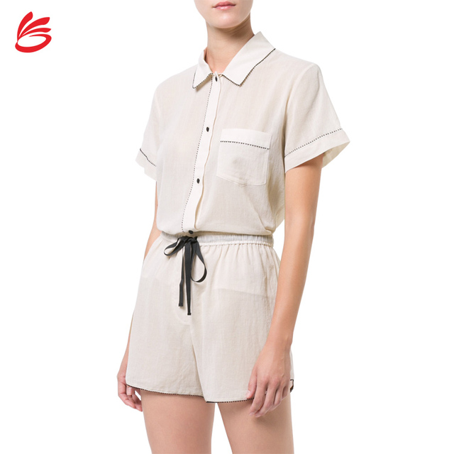 2018 Newarrival Custom Pajamas Women Chiffon Short Sleeve Summer Pyjama Set Chinese Supplier