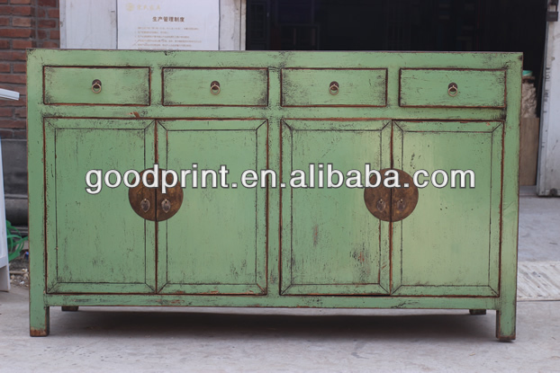 wooden cabinet furniture, hot sale reclaim antique furniture four drawer four door cabinet