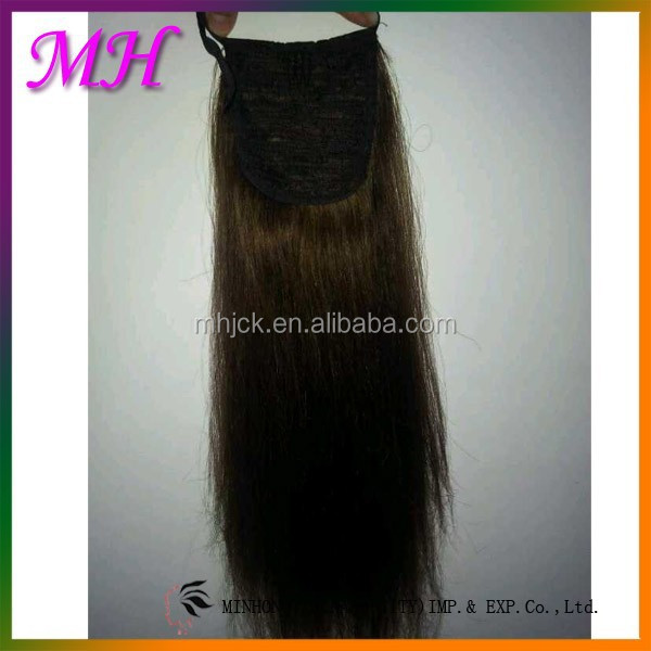 high quality animal hair with human hair weft ,silky straight hair extension cheap sale