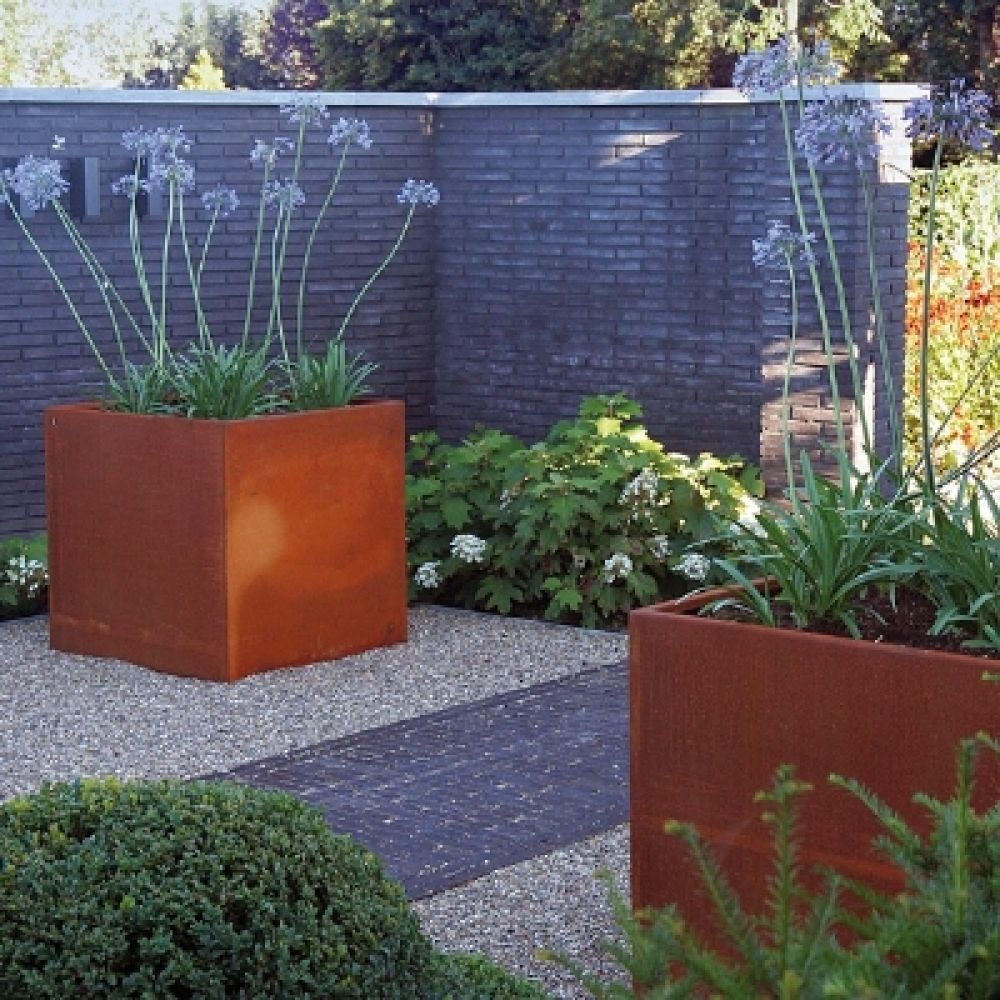 corten steel cheap small / mini metal flower pots outdoor