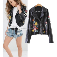 new fashion autumn winter ladies heavy embroidery pu leather motorcycles jacket women clothing