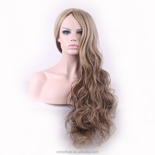 Fashion Natural Blonde Cosplay Wig Long Wavy Heat Resistant African American Synthetic Wig For euro Women 30 inch