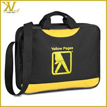 Black and yellow 600D polyester document bag with piping