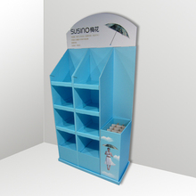 Unique design free standing customized supermarket umbrellas storage cardboard display stands rack