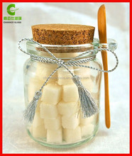 Thick Clear Glass Storage Jar with Wooden Spoon