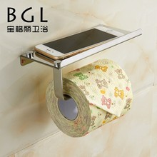 304 Stainless Steel Wall Mounted Chrome Plated Paper Toilet Holder With Mobile Phone Shelf
