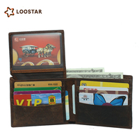 2018 Loostar Hot Sale Fashion Multi-functional short genuine leather man wallet