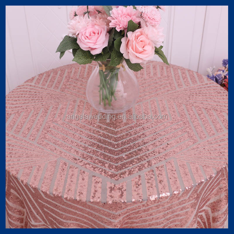 SQ026A New design2017Hot sale pattern Sequence metallic wedding rose gold sequin table cloth