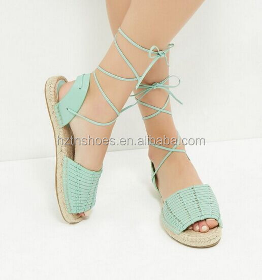 Woven faux leather sandal espadrille peep toe flat shoes lace up women jute