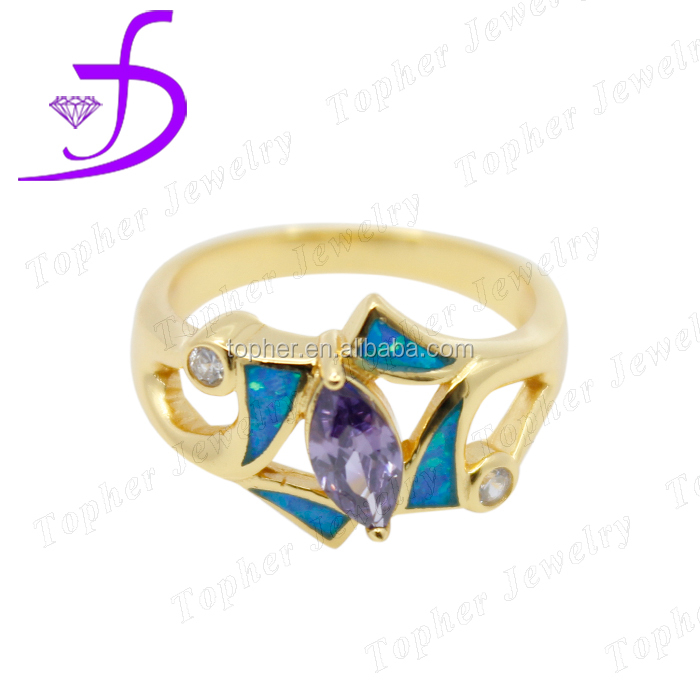 925 fashion 14k gold opal ring with opal,ring inlay tanzanite