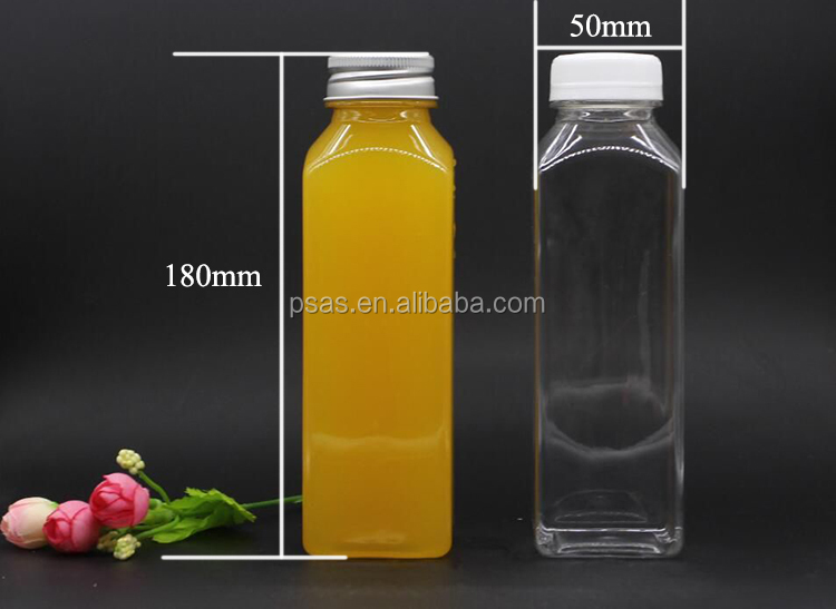 38mm PET square plastic milk bottle drinking bottle with aluminum cap