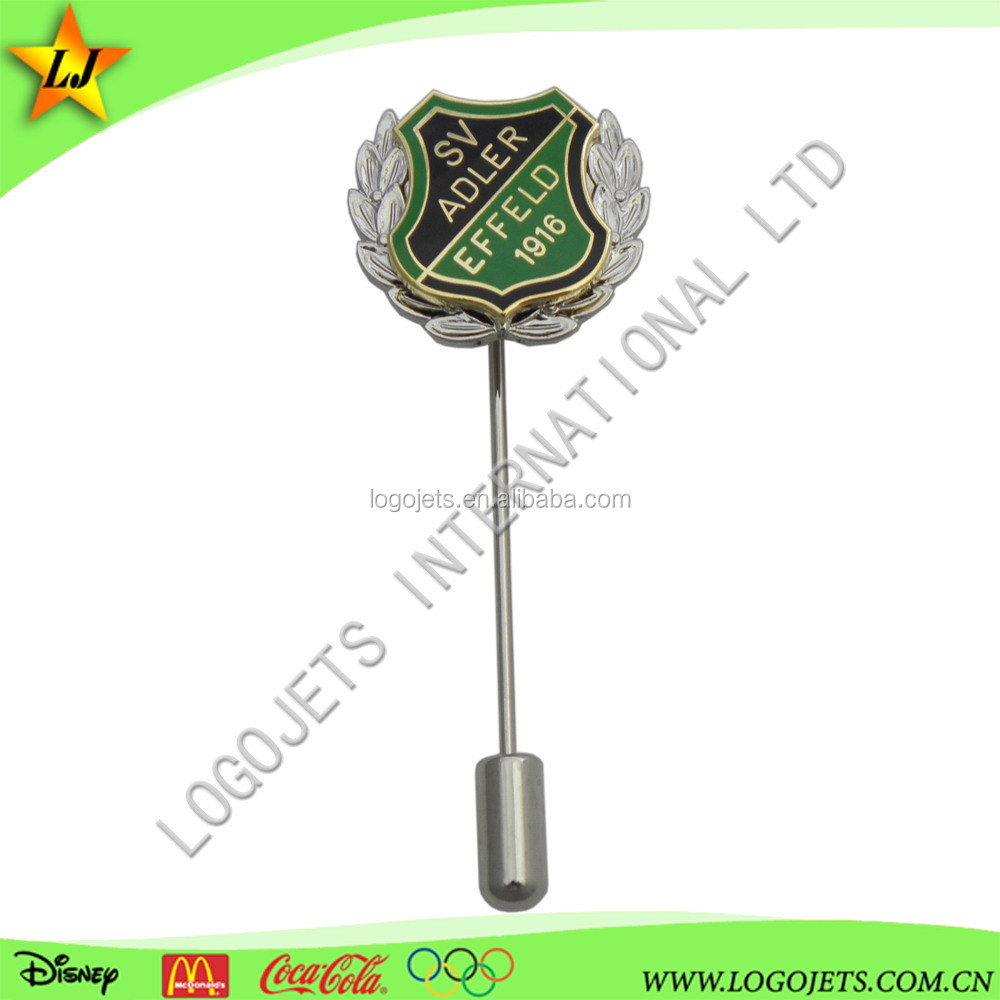 Top selling custom stick pin, badge clip safety pin, long needle lapel pin