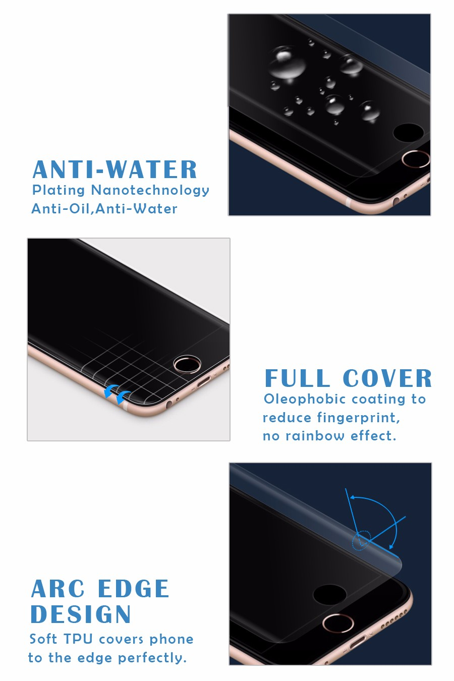 Promotion Full Screen Cover For iPhone 7 / 7 plus TPU screen protector film