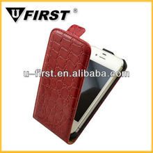 For iphone 4s leather flip case,crocodile lines high class leather cover