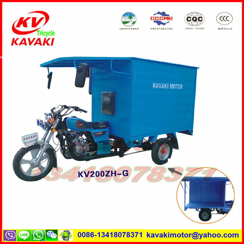 Guangzhou KAVAKI sale 250cc container cargo box enclosed 3 wheel motorcycle