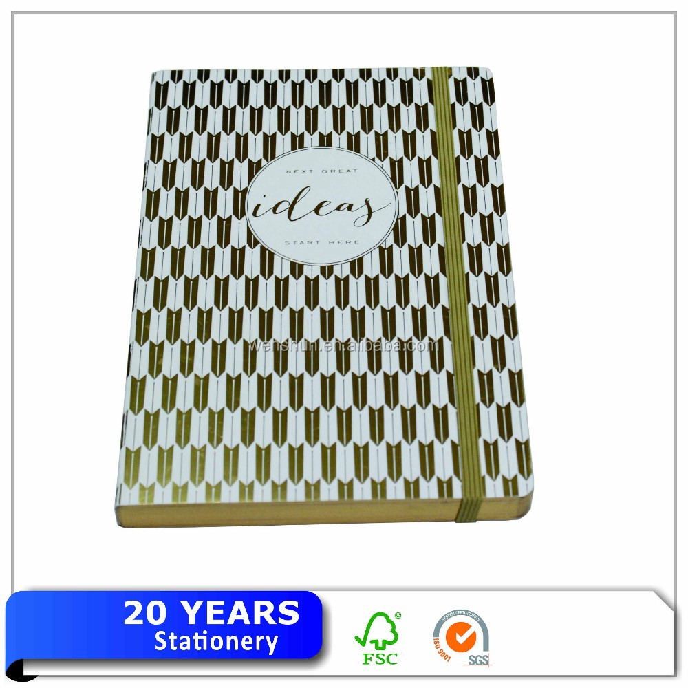 High quality gold foil stamping organizer/planner/agenda/journal elastic band notebook