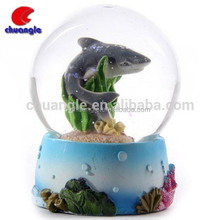 Glass Dolphin Figurines, Dolphin Snow Water Globe, Animal Crystal Water Ball