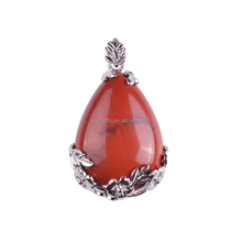 Semi Precious Stone Red Jasper Waterdrop Jewelry Necklace <strong>Pendant</strong> Wholesale