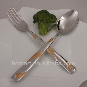 stainless steel goldplated Korean fork and spoon set