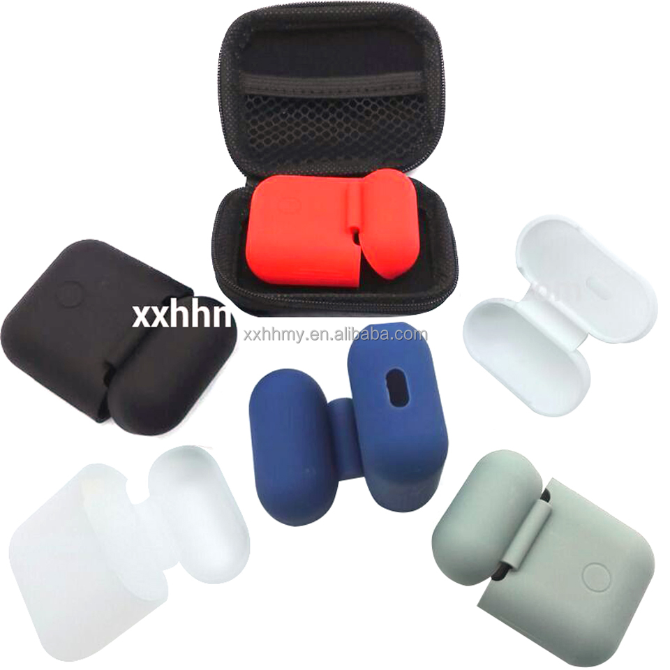 5 colors AirPods Case Shock Proof Protector Sleeve Skin Silicone Case Protective Cover carry Bag+Silicone Case For apple AirPods