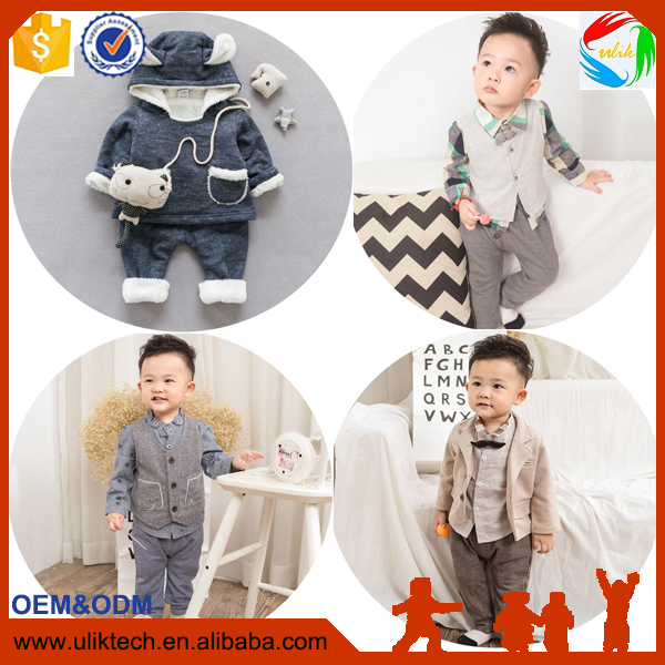 New Chidren Kids Boys Clothing Set Autumn Winter 3 Piece Sets Hooded Coat Suits Fall Cotton Baby Boys Clothes