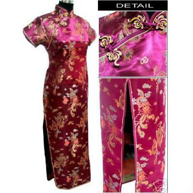 Chinese Ankle Length Purple/Red Cheongsam - Dragon & Phoenix 1003-85