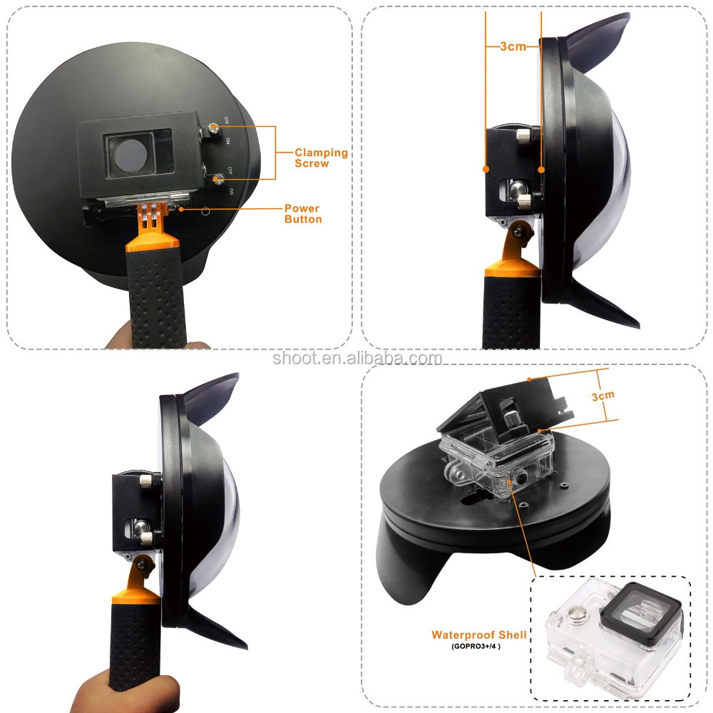 2016 wholesale NEW SHOOT 6 inch Dome Port with Lens hood for GoPro Hero 3+/4 2.0 version