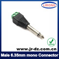 1pcs Green Male 6.35mm mono connector to screw block with RoHS approved