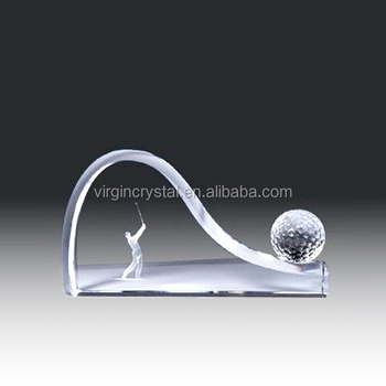 Fancy new design 3d laser engraving crystal golf ball trophy award for sale