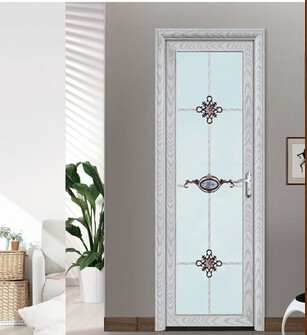 Luxury white color decorated aluminum frame interior frosted glass bathroom door design