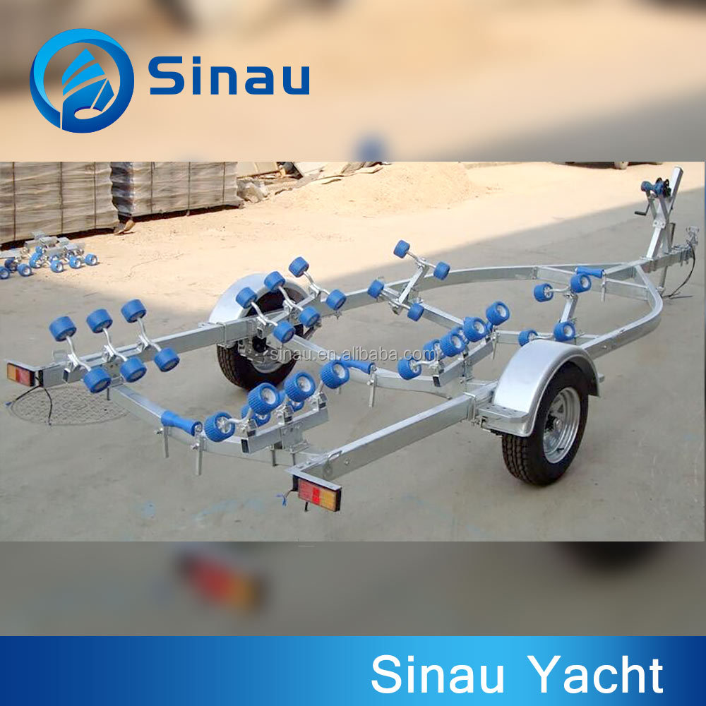 Boat trailer hot galvanized steel trailers with no brake for 3.6m-4.2m boat