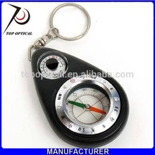 Multifuctional plastic mini pocket carabiner compass watch with keychain