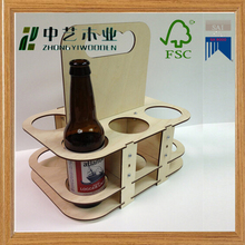Packaging boxes unfinished collapsible DIY reusable eco-friendly 6 pack wooden beer caddy